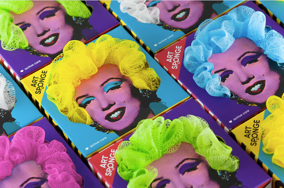 Multicolored packaging design featuring marilyn monroe