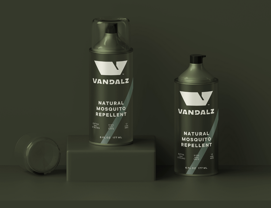 khaki spray bottle packaging design
