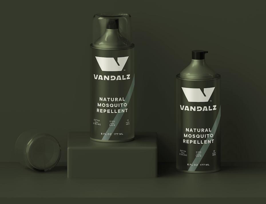 khaki spray bottle packaging design
