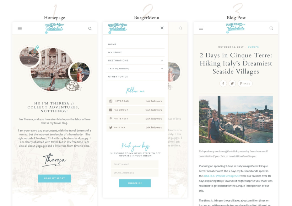Mobile website design and navigation menu for travel blog