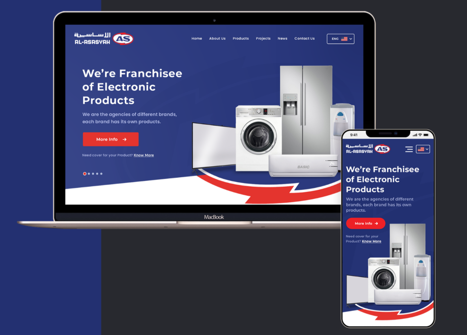 Mobile and desktop website design for an electronics brand pictured side-by-side