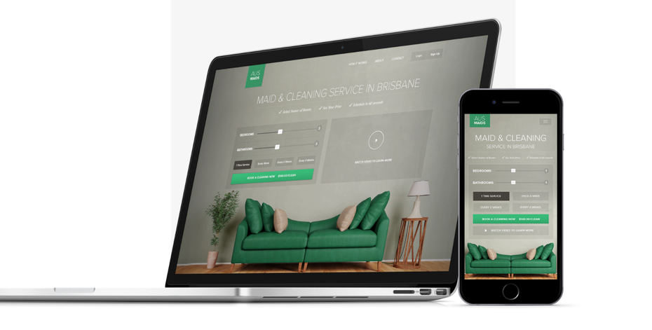 Mobile website design for maid cleaning service with green accent