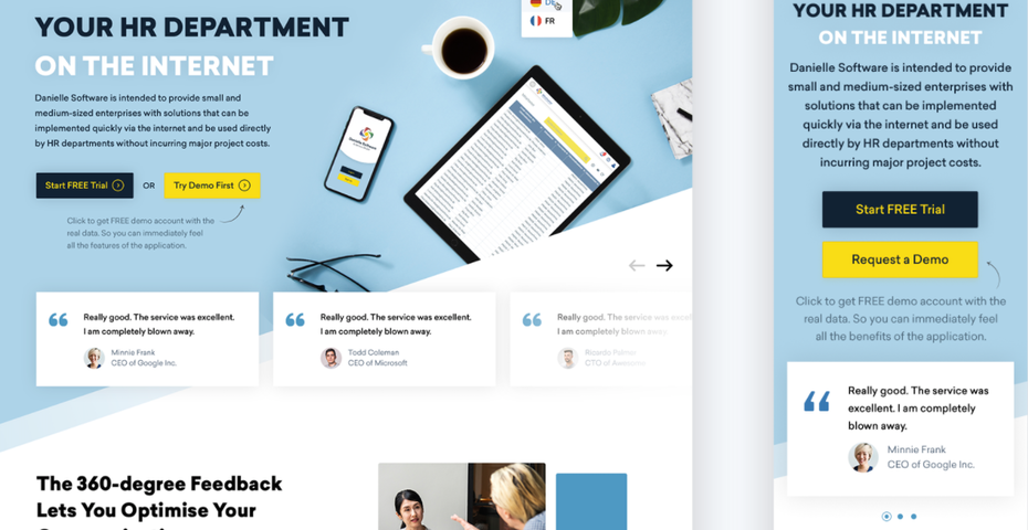 Mobile website design with light blue theme for HR department