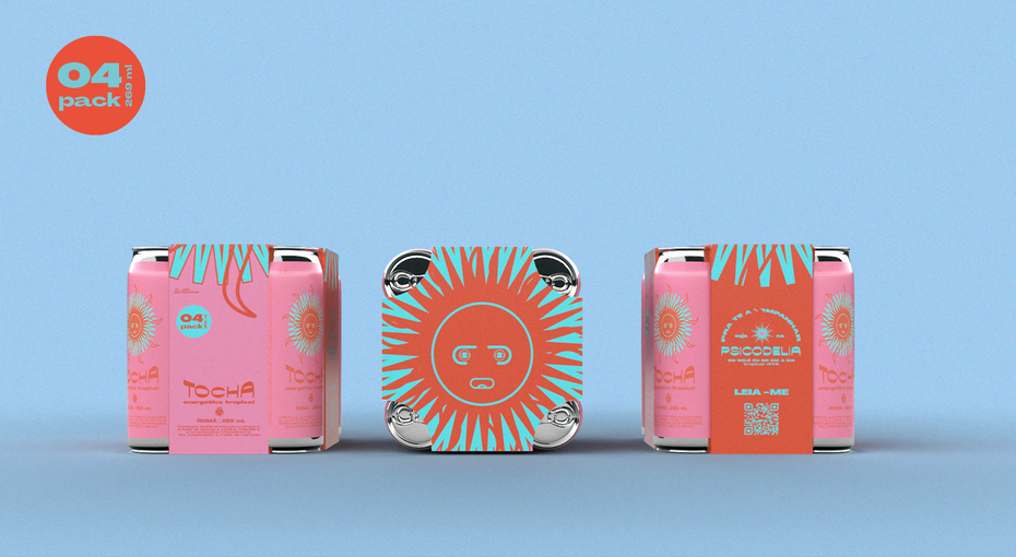 Pastellfarbene Verpackung mit Sonnenillustration