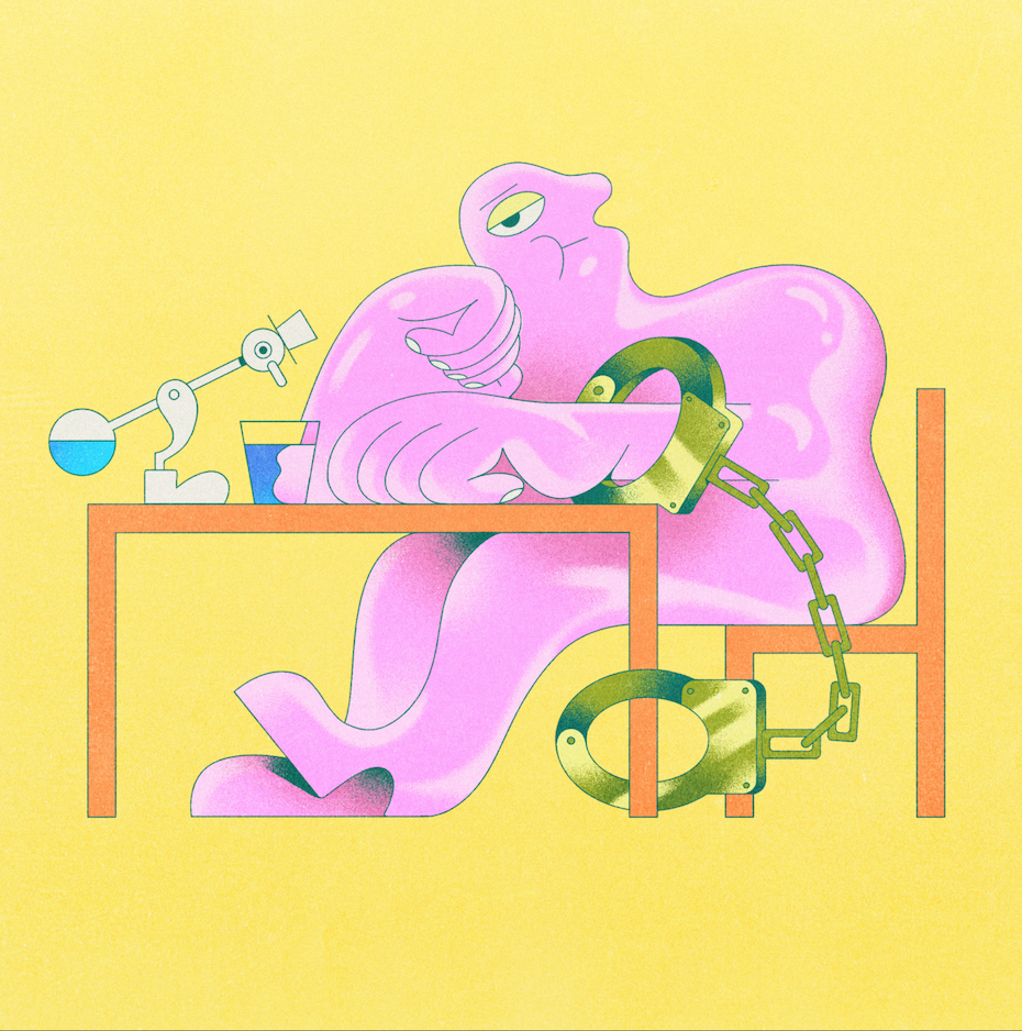 freelancer chained to their desk: an illustration in pastel colors