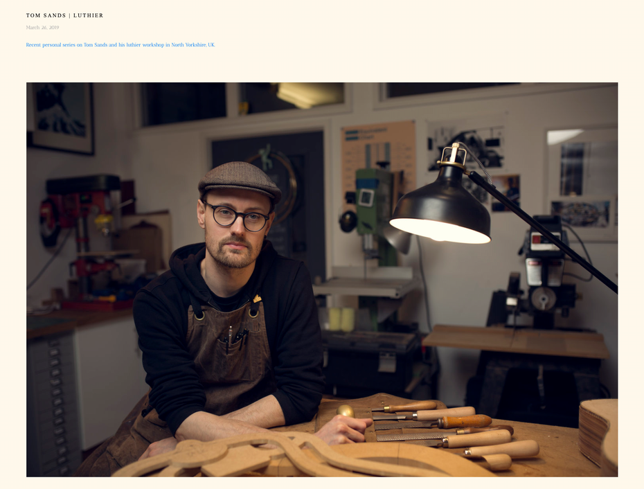 Screenshot of photography website design for Will Bremridge