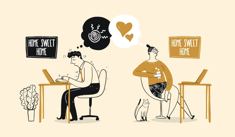 illustration of two individuals working from home