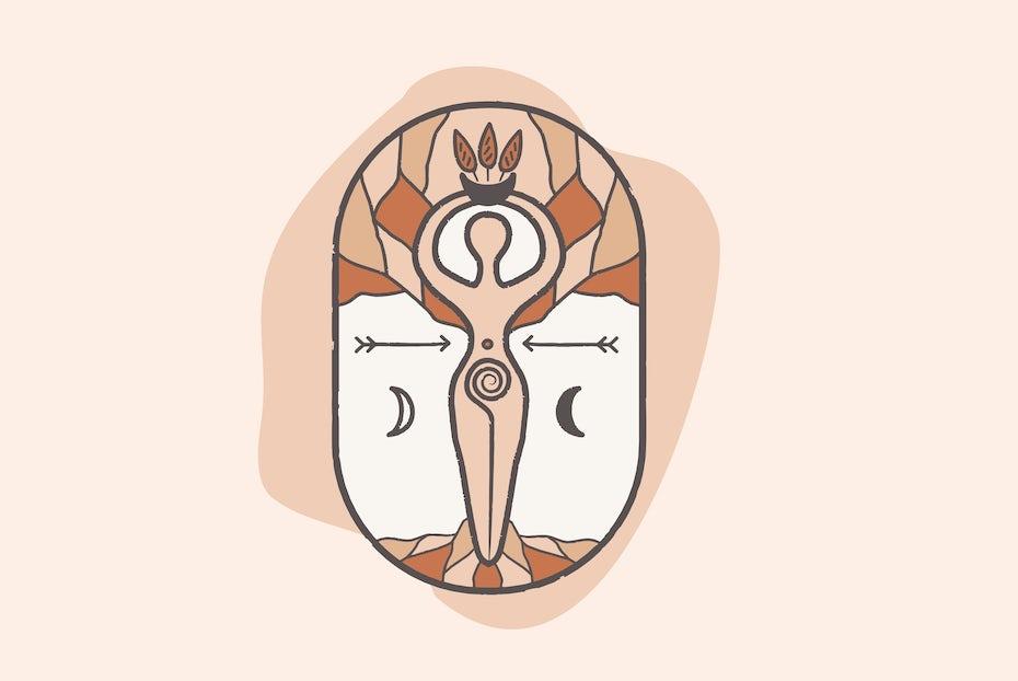 Logo design for wellness brand featuring symbolic goddess