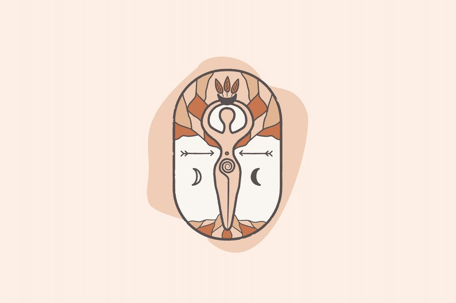 Logo design for wellness brand featuring symbolic goddess