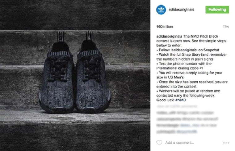 Instagram screenshot showing Adidas NMD Pitch Black sneakers and raffle instructions