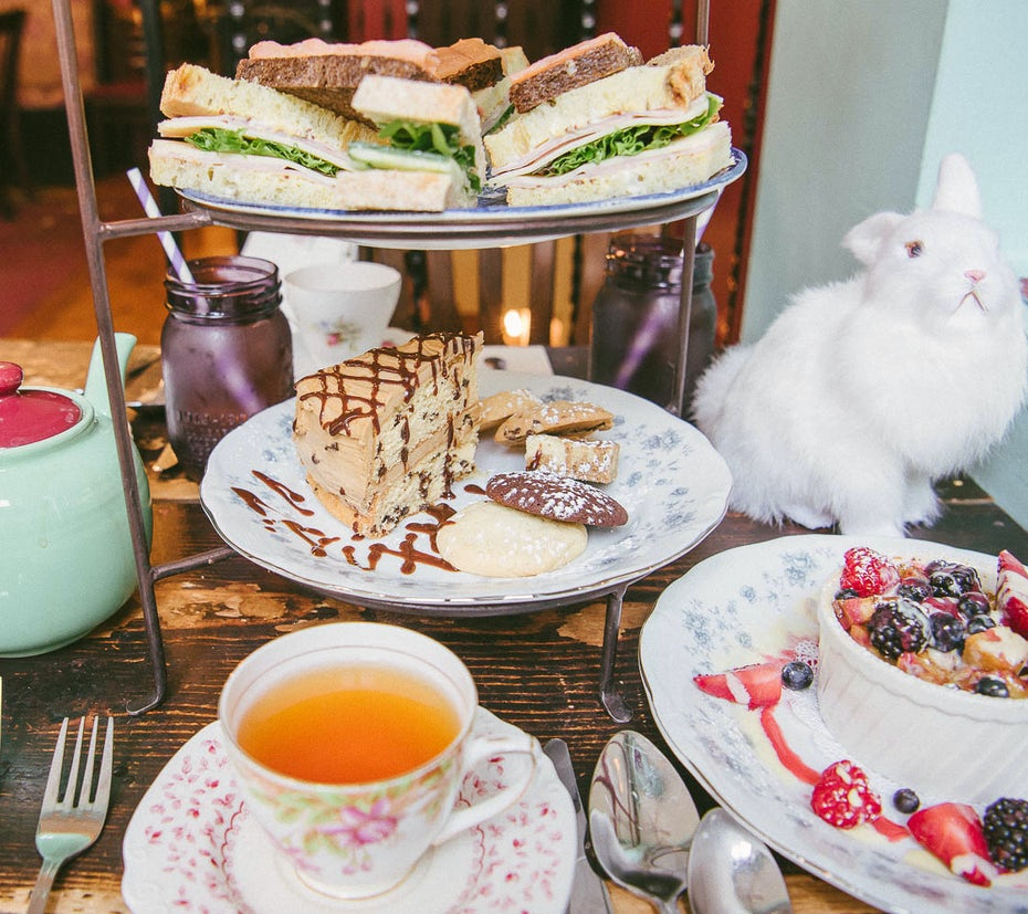photo of food and tea on a table with a stuffed white rabbit