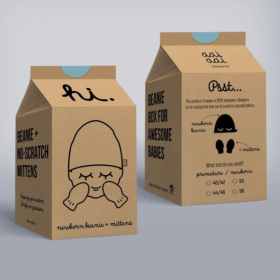 cardboard milk carton-shaped box with minimalist black illustrations