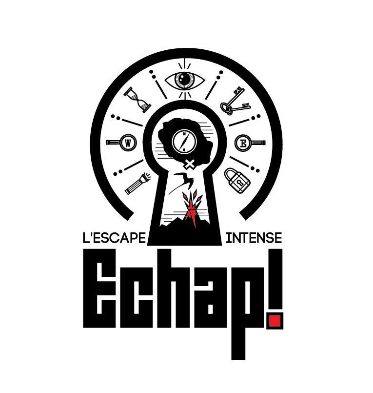 Logo design for escape room featuring a number of cryptic symbols