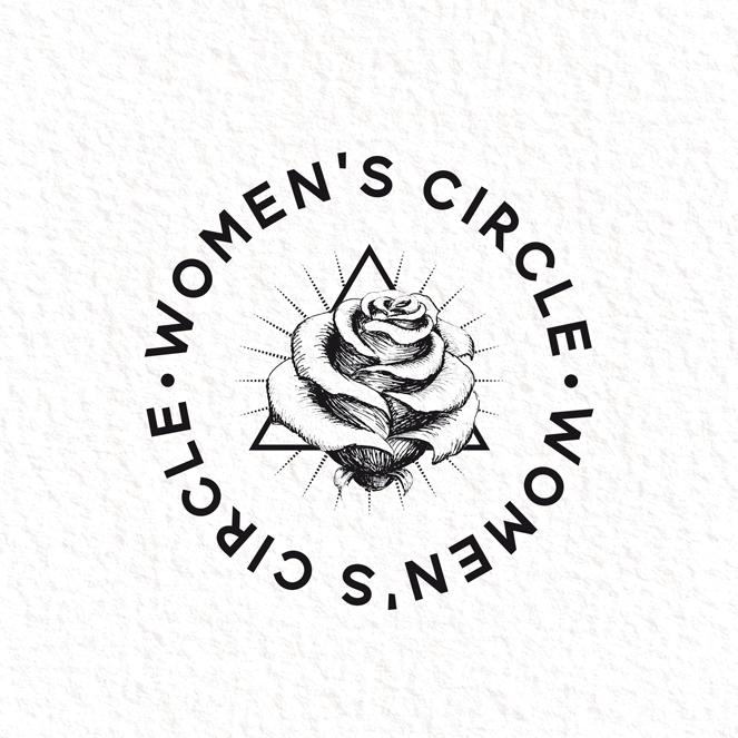Logodesign, das eine Rosenillustration zeigt, die durch ein Dreieck unterstützt wird
