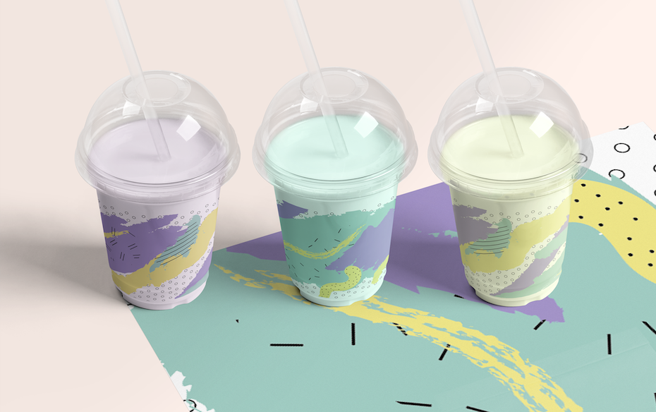 Disposable cup design with brushstroke style 80s pattern