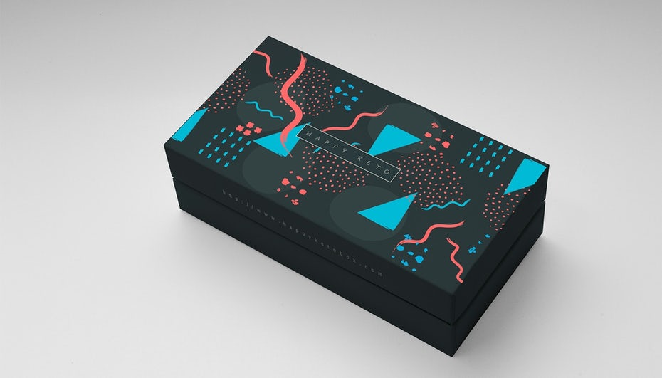 Packaging design with Memphis style background