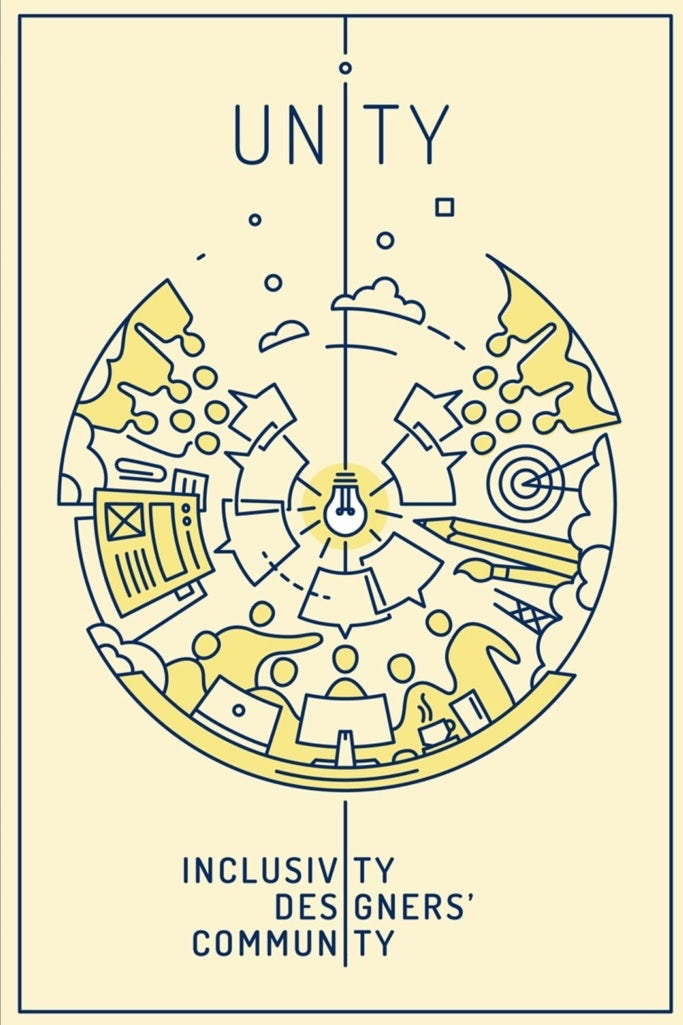 image of lightbulb with community of designers illustration
