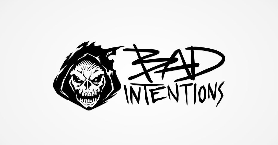 black and white logo of a skull in a reaper hood and graffiti-style text