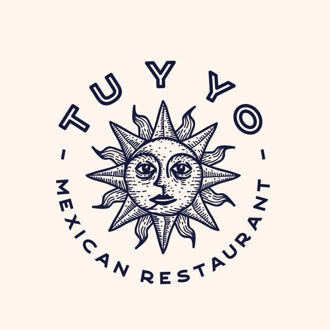 Logo design with archaic sun symbol for Mexican food brand