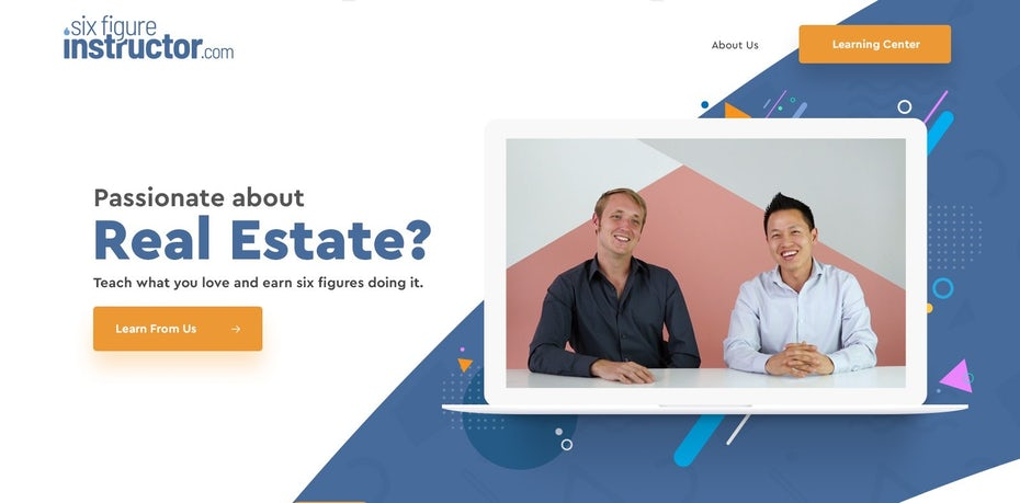 Website design with subtle Memphis shapes in the background of the header
