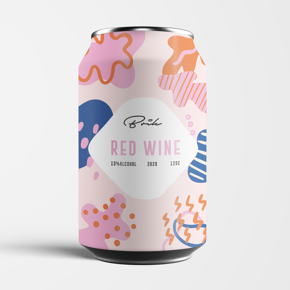 Wine can label design with abstract, organic Memphis shapes