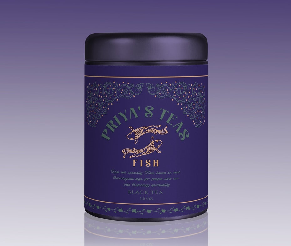 dark purple tea label with gold and blue text