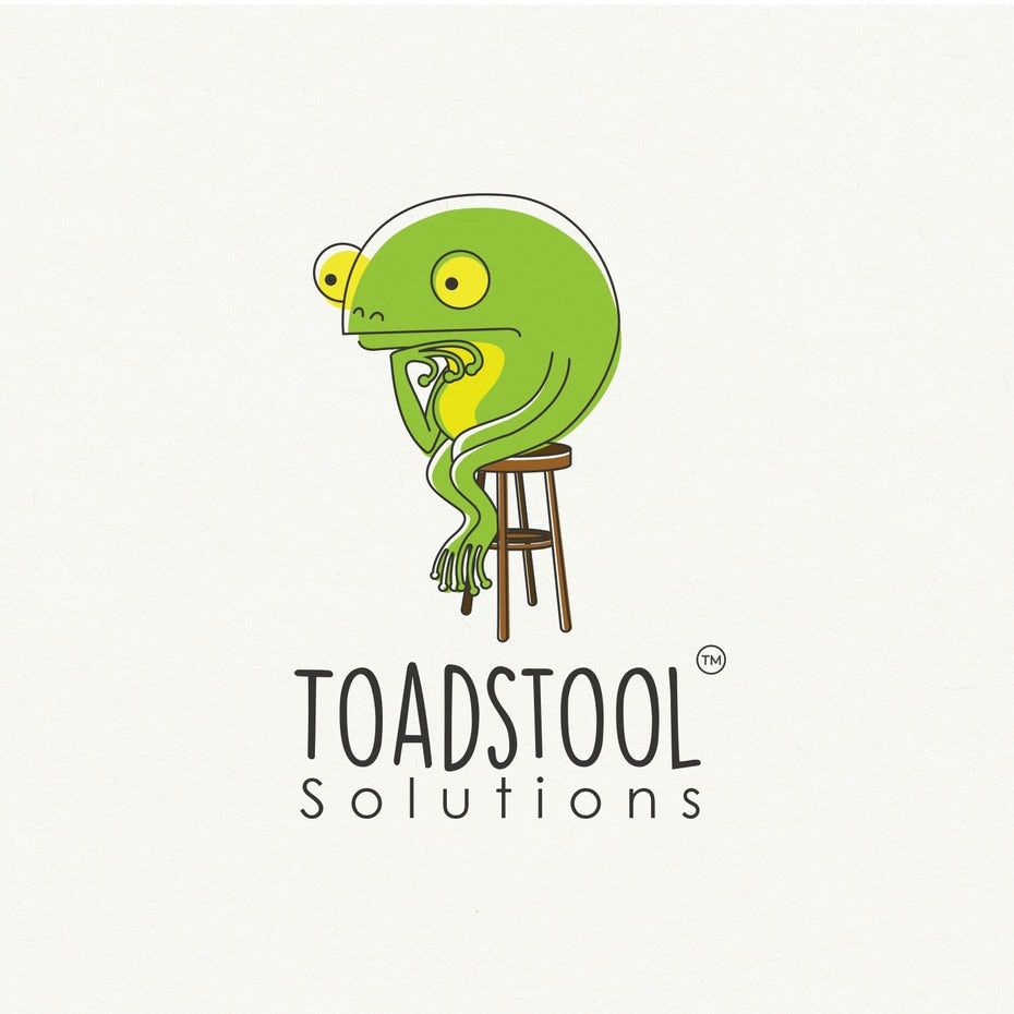 Logo design of a frog character thinking on a stool