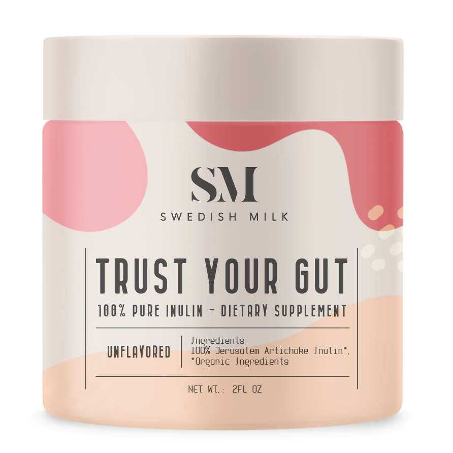Cosmetic label design with abstract, organic Memphis shapes