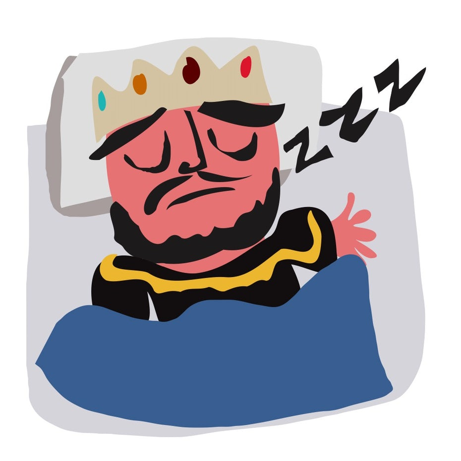 illustration of a king asleep in bed