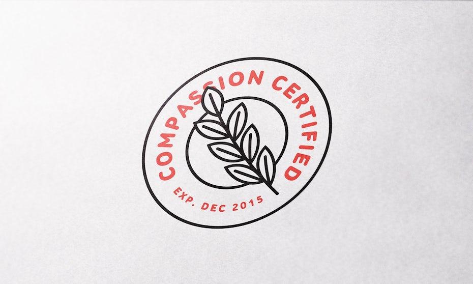 Kreisförmiges Logodesign mit Lorbeerzweig