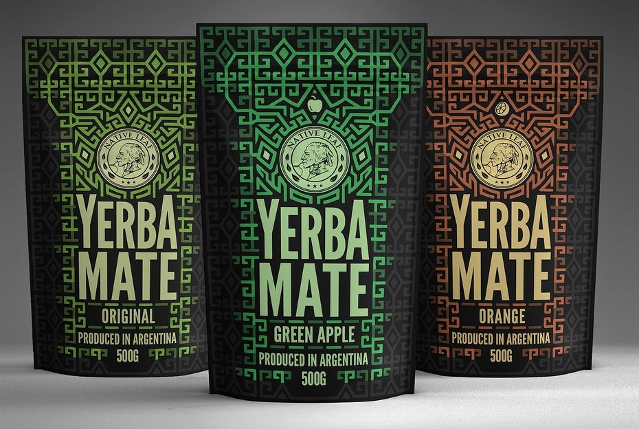 three varieties of yerba mate packaging side by side