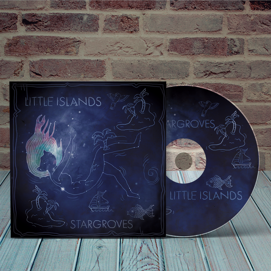 Album cover design featuring an illustration made out of a star constellation