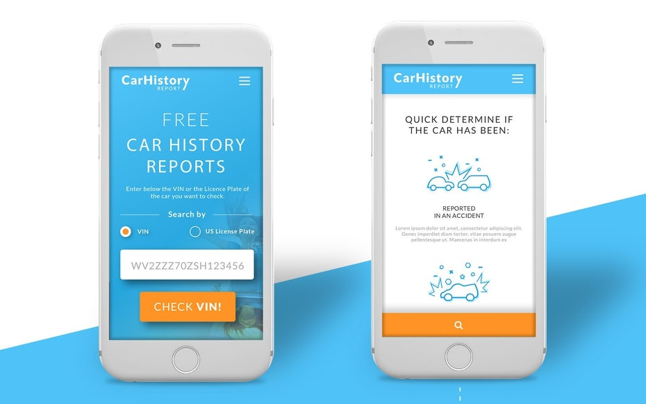Blue and orange mobile website design for car report service