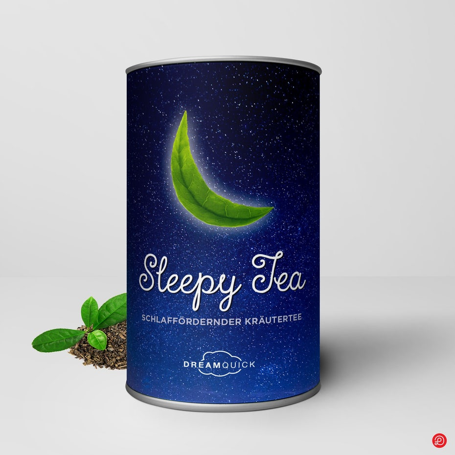 blue canister of tea with a tea leaf shaped like the moon