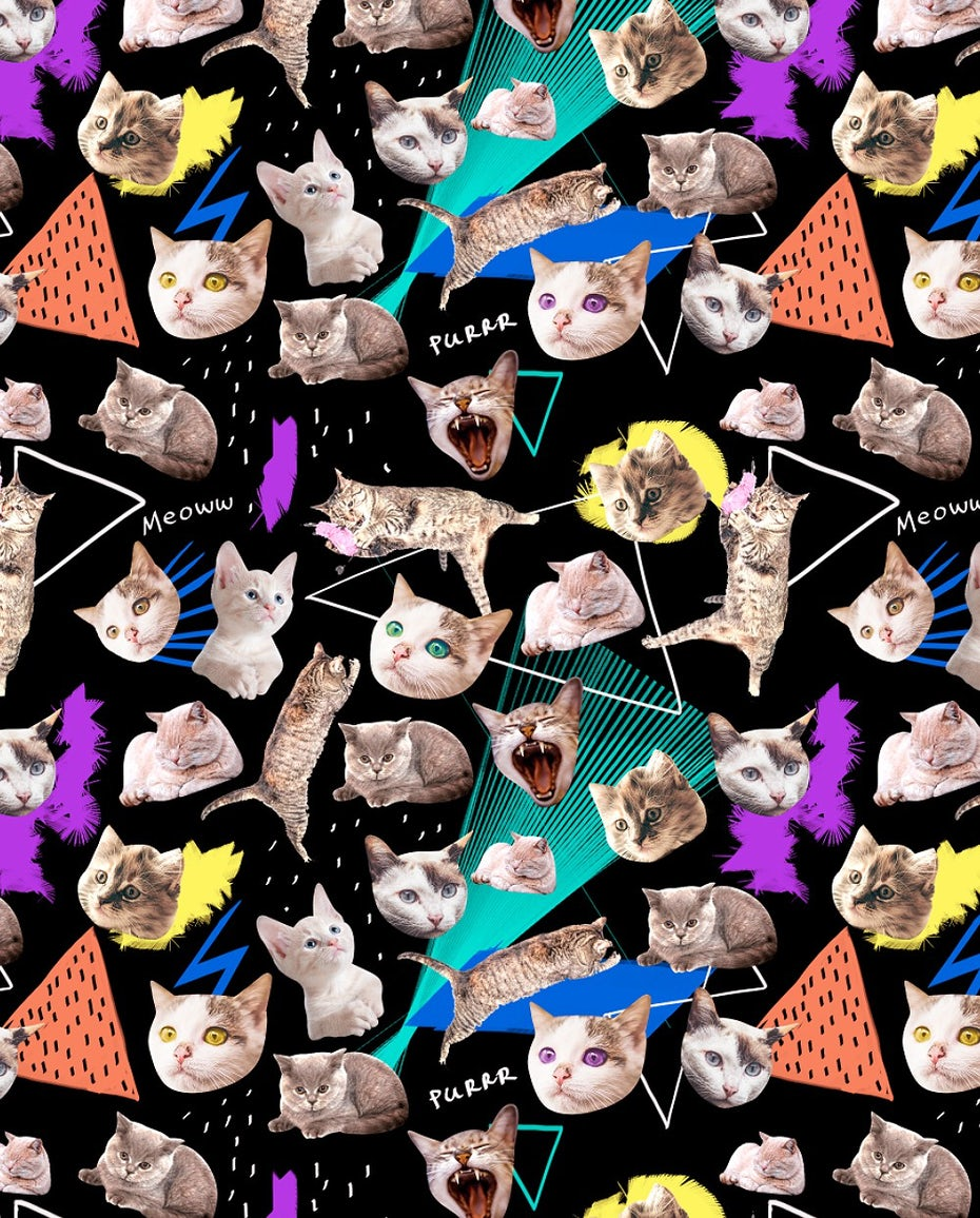 Cat t-shirt design with Memphis style background