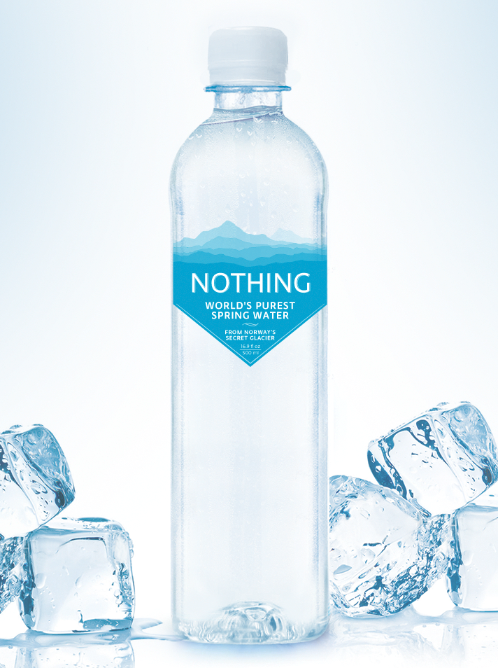 plastic water bottle with a minimalist blue iceberg label