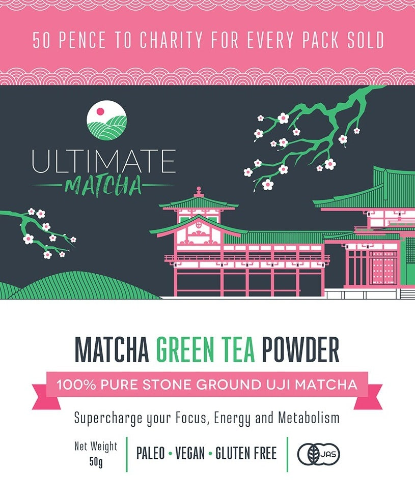 packaging label showing a pagoda, cherry blossoms and design elements in pink, green and white