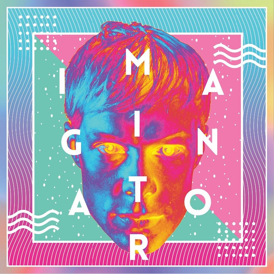 Neon album cover design with subtle Memphis graphics