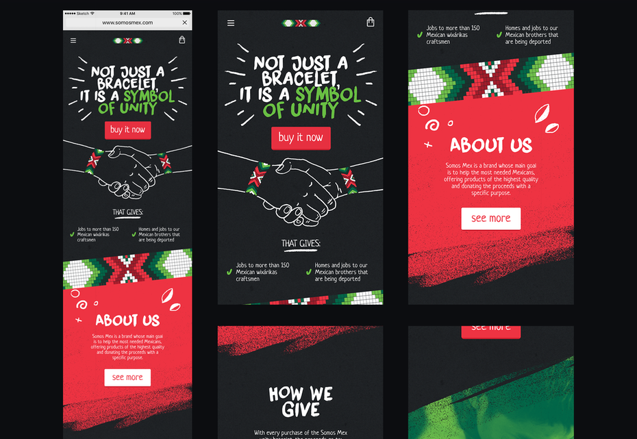 Darkmode mobile website design for Mexican bracelet brand