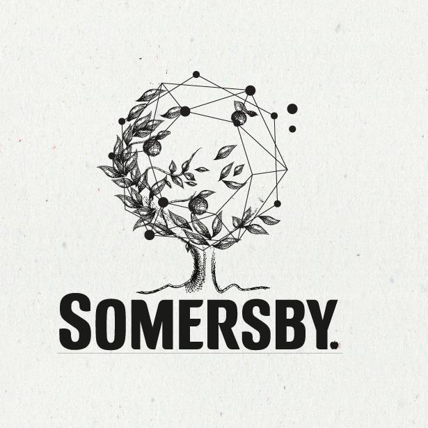 Logo design featuring illustration merged with geometric constellation