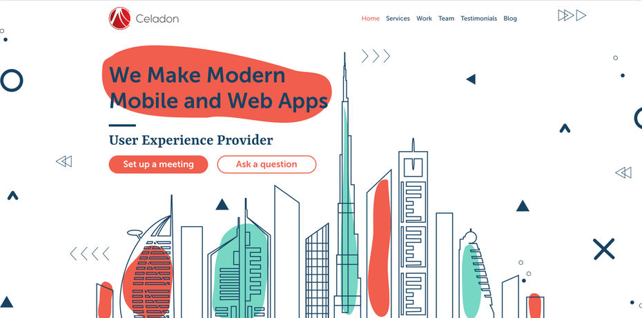 Website design with abstract shapes in the background of the header