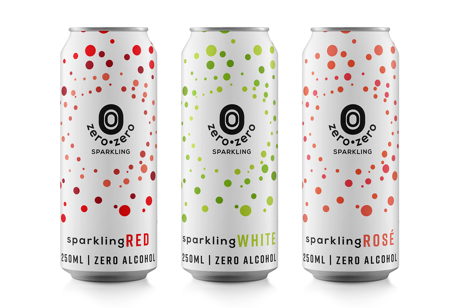 white seltzer cans, each with a different color dots