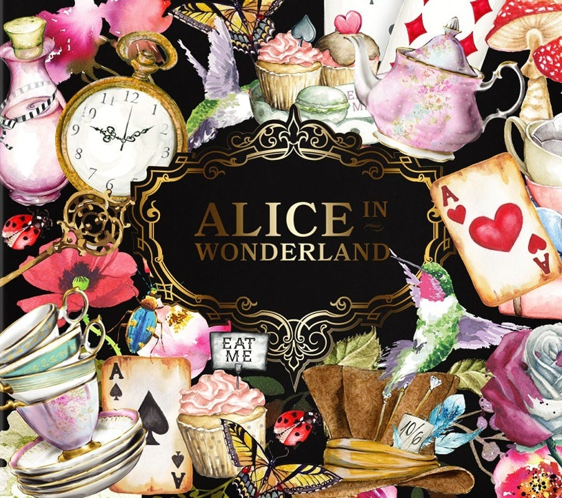 multicolored tea box illustrated with imagery from Alice in Wonderland