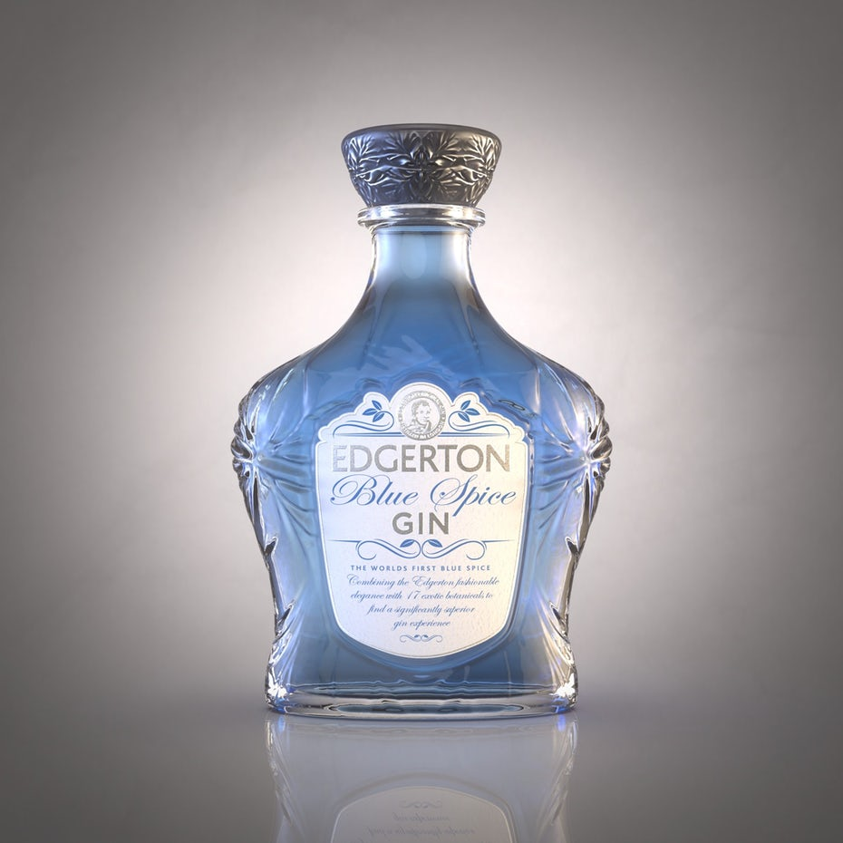 blue gin bottle with an ornate top and label