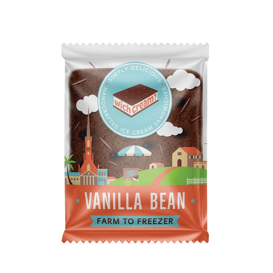 see-through ice cream sandwich packaging with warm-toned design