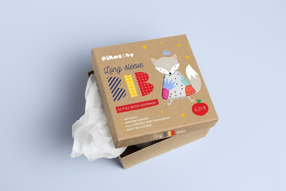 Children's packaging design with Memphis style lettering
