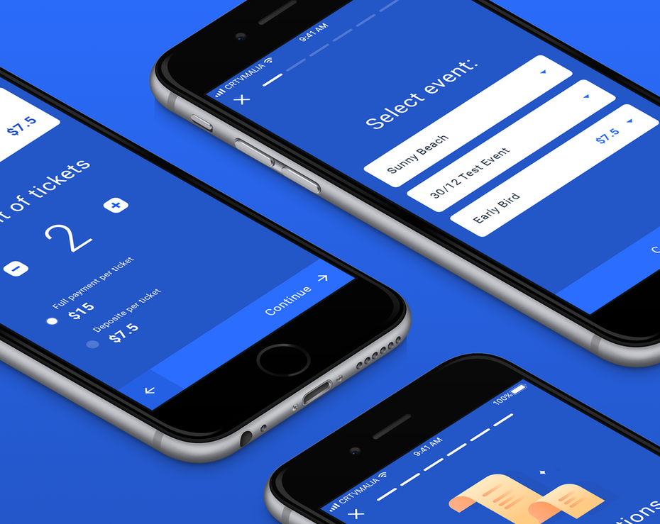 Mobile website design for a ticket service with blue theme