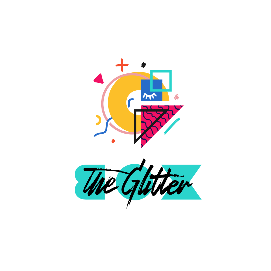 Logo design with Memphis style abstract shapes