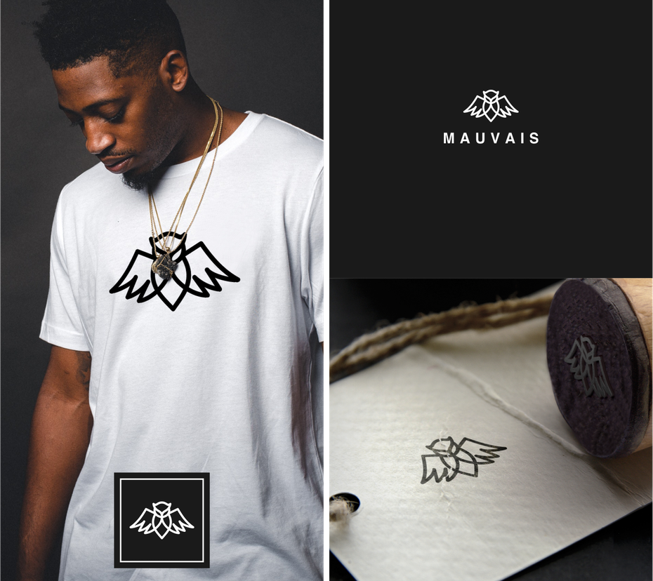 Monochrome owl logo design for a high street fashion brand