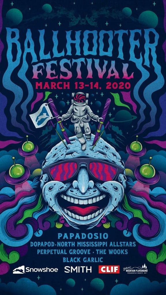 Design psychédélique pour l'affiche du Ballhooter Festival